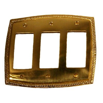 BRASS Accents Rope Triple GFCI Switch Wall Plate