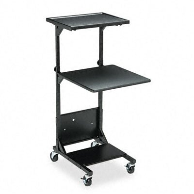 Balt Adjustable Projection Stand, Two Shelves, 18 x 20 x 41-1/2 to 47-1/2, Black