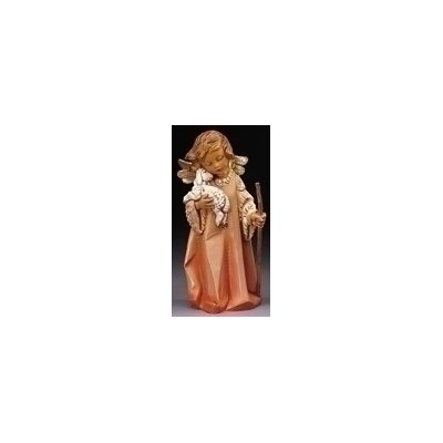 "Fontanini 8"" Woodtone Little Shepherd Angel with Lamb Figurine"