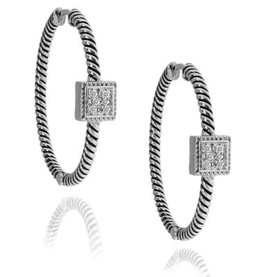 Moise Diamond Square Hoop Earrings