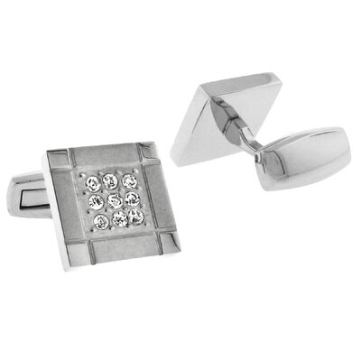 Stainless Steel Silver-Tone High Shine Finish Square Cufflinks