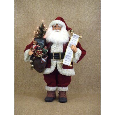 Crakewood Lighted Vintage Gift Bag Santa Claus Figurine