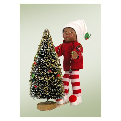 Byers' Choice African American Toddler Boy Decorating Tree Figurine