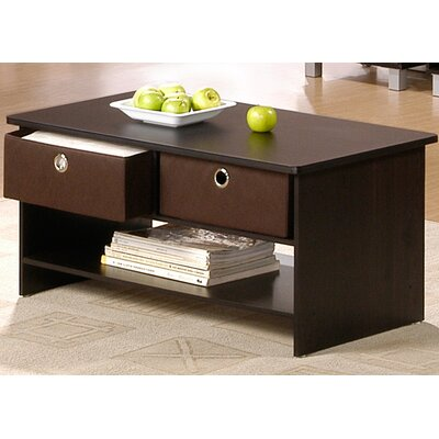 Furinno 1000 Series Center Coffee Table with 4 Bin-type Drawers