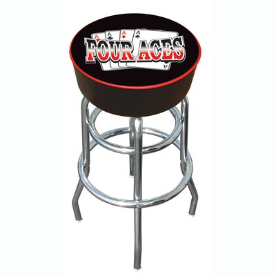 "Trademark Global 30"" Four Aces Logo Padded Bar Stool"
