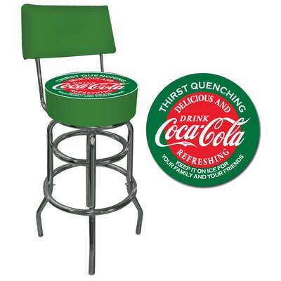 Trademark Global Red and Green Coca Cola Pub Stool with Back