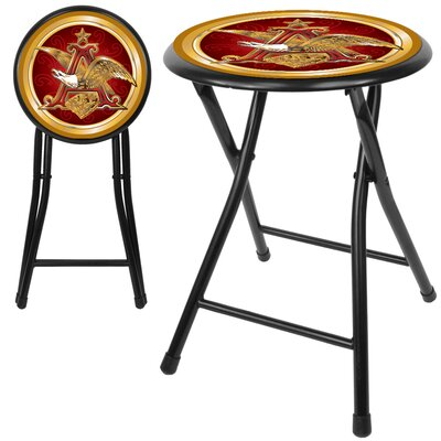 Trademark Global Anheuser Busch  A & Eagle Folding Stool in Black