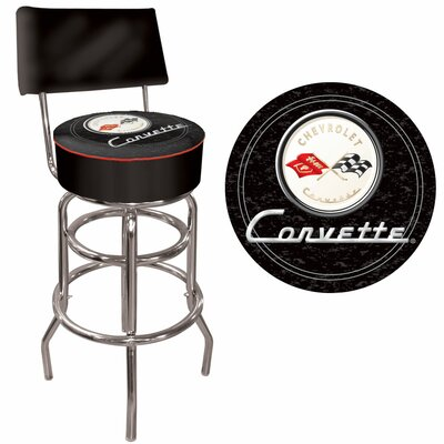 Trademark Global Corvette C1 Padded Bar Stool with Back in Black on Black