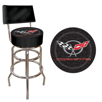 Trademark Global Corvette C5 Padded Bar Stool with Back in Black