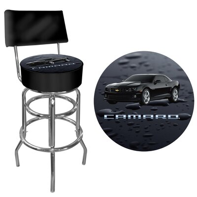 Trademark Global Black Camaro Padded Bar Stool with Back