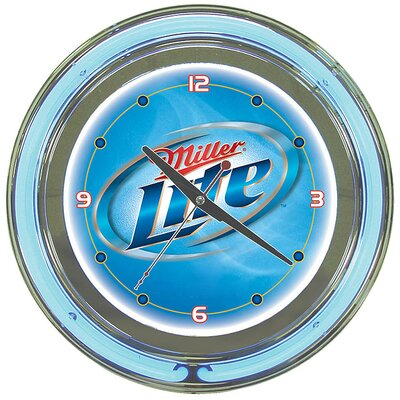 Trademark Global Miller Lite Neon Wall Clock in Polished Chrome