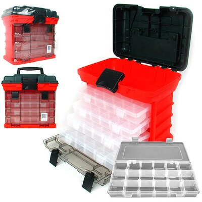 73 Compartment Durable Plastic Storage Tool Box in Red