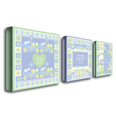 Trademark Global Sweet Baby Boy by Grace Riley Canvas Art (Set of 3)