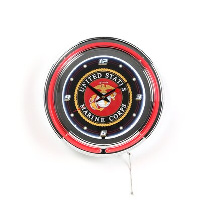 United States Marine Corps Double Ring Neon Clock