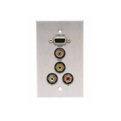 Comprehensive Single Gang Wall Plate in Kyde x Ivory (HD15, Stereo Mini, 3RCA- Passthru)