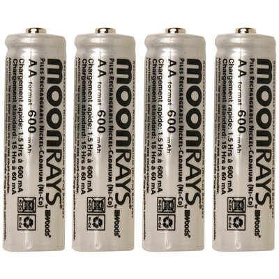 Moonrays 600 Mah Rechargeable NiCd AA Batteries (Pack of 4)