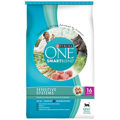 Purina One SmartBlend Adult Sensitive Systems Dry Cat Food (16-lb bag)
