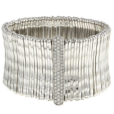 White Satin Bamboo Bar Pave-Set Crystal Stretch Bracelet