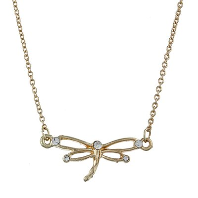 Zirconmania Gold Tone Crystal Dragonfly 'Cherish' Charm Necklace