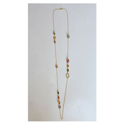 Zirconmania Goldtone Necklace with Geometric Shaped Crystals