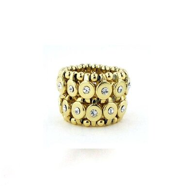 Goldtone Clear Crystal 2-row Disc Stretch Fashion Ring