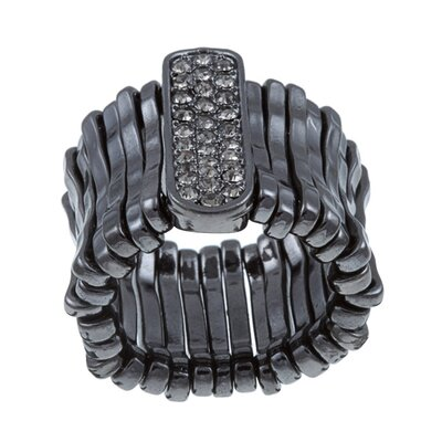 Gunmetal Black Crystal Stretch Fashion Ring