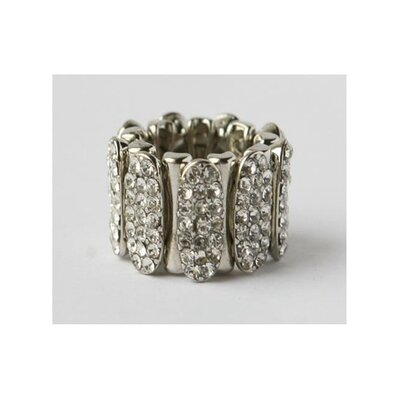 Zirconmania Silvertone Pave Crystal Sectional Stretch Ring