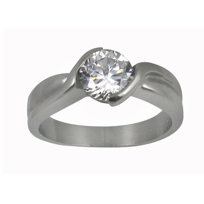 Trendbox Jewelry Round Cut Cubic Zirconia Twisted Band Engagement Ring