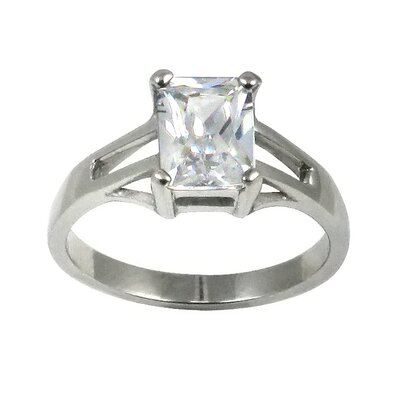 Trendbox Jewelry Emerald Cut Cubic Zirconia Solitaire Engagement Ring