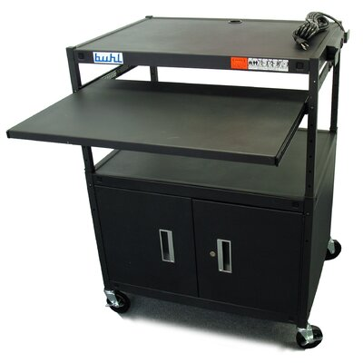 Buhl Height Adjustable AV Media Cart with Security Cabinet - Two Stationary Shelves / Laptop Shelf