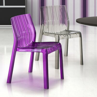 dCOR design Ruffle Chair in Transparent Purple