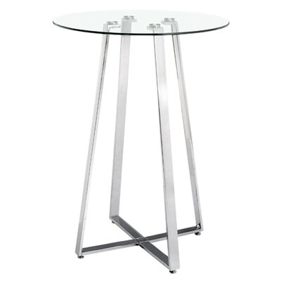 dCOR design Lemon Drop Bar Table with Tempered Glass Top