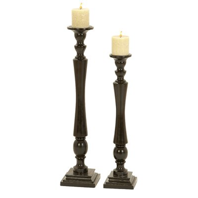 Woodland Imports Wood Candlesticks (Set of 2)