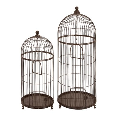 Woodland Imports Garden Decor Bird Cage (Set of 2)