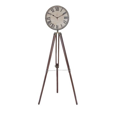 Wood Metal Floor Clock