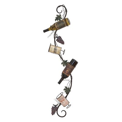 Woodland Imports 4 Bottle Wall Mount Wine Rack