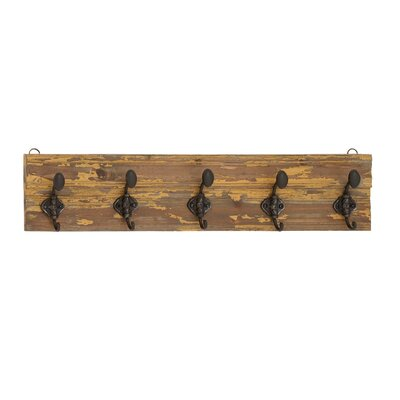 Classic Wooden Vintage Themed Wall Panel with Metal Hooks
