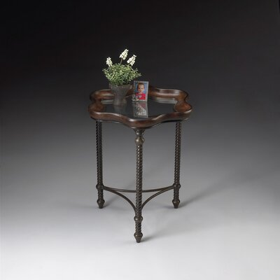 Metalworks Glass Inlay End Table
