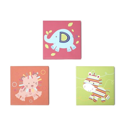 Animal Parade 3 Piece Canvas Wall Art