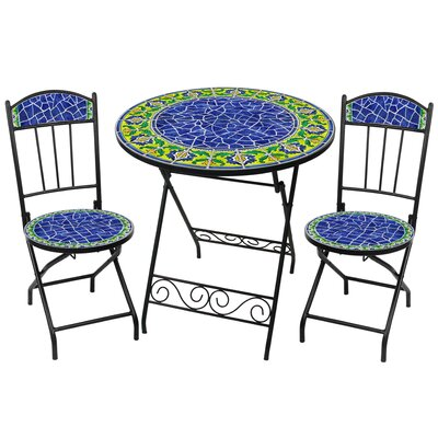 RST Outdoor Blue Moorish Decorative 3 Piece Bistro Set