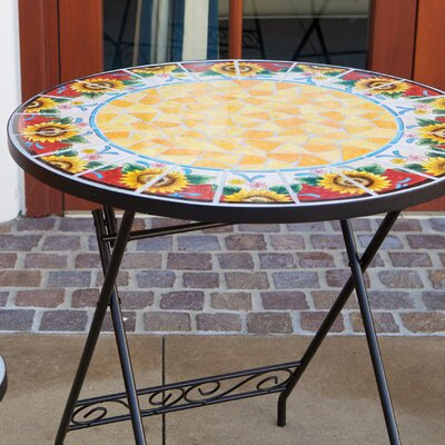 RST Outdoor Red Sunflower Burst Decorative 3 Piece Bistro Set