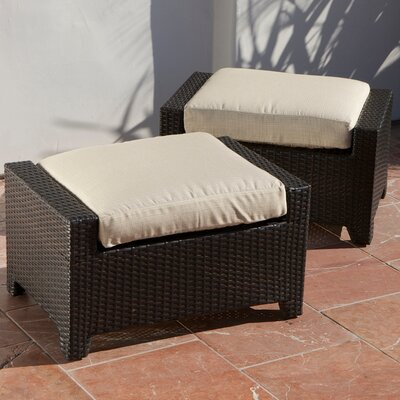 RST Outdoor Slate Club Ottoman with Cushion (Set of 2)