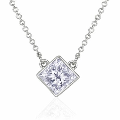 14k White Gold TDW Princess-Cut Diamond Solitaire Necklace