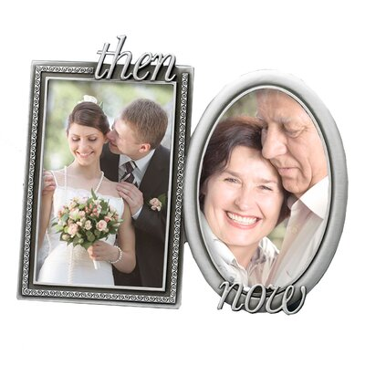 Fetco Home Decor Wedding Krystal Then and Now Double Picture Frame