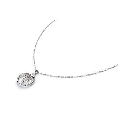 Eco Opulence Sterling Silver Basket of Pearl Pendant