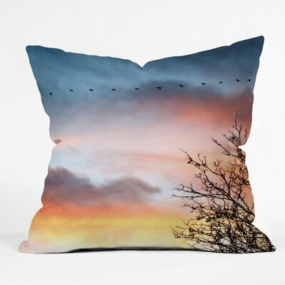 DENY Designs Bird Wanna Whistle Bird Line Indoor/Outdoor Polyester Throw Pillow