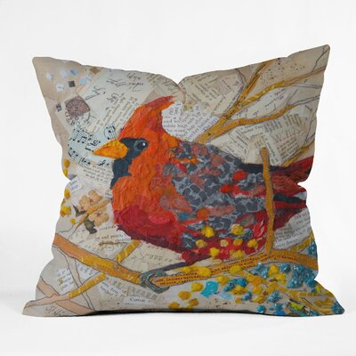 DENY Designs Elizabeth St Hilaire Nelson Cardinal on White Polyester Throw Pillow