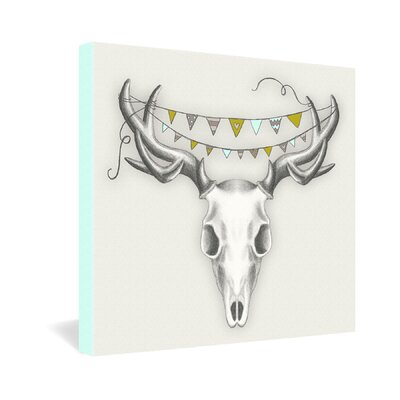 DENY Designs Wesley Bird Skull Gallery Wrapped Canvas