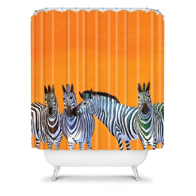 DENY Designs Clara Nilles Woven Polyester Candy Stripe Zebras Shower Curtain