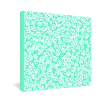 DENY Designs Joy Laforme Dahlias Seafoam Canvas Wall Art